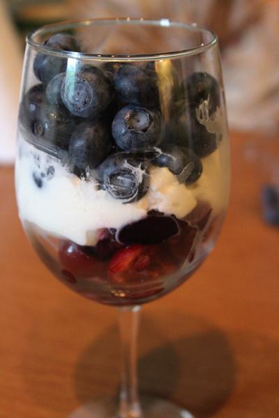 cherries, blueberries, yogurt