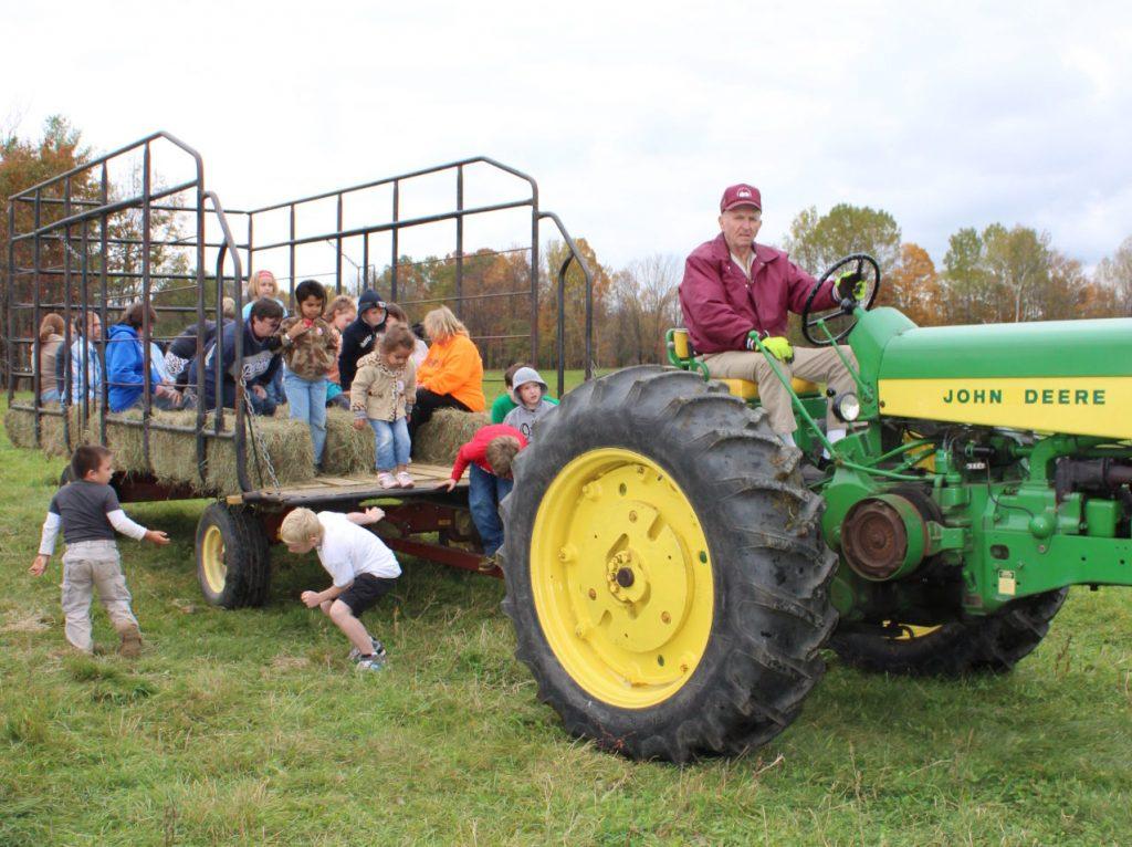 Wagon rides at Krebs Organic Dairy at Open Farm Sunday.