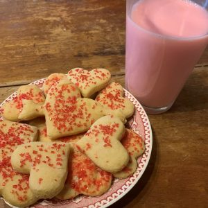 cookies and strawberry milk